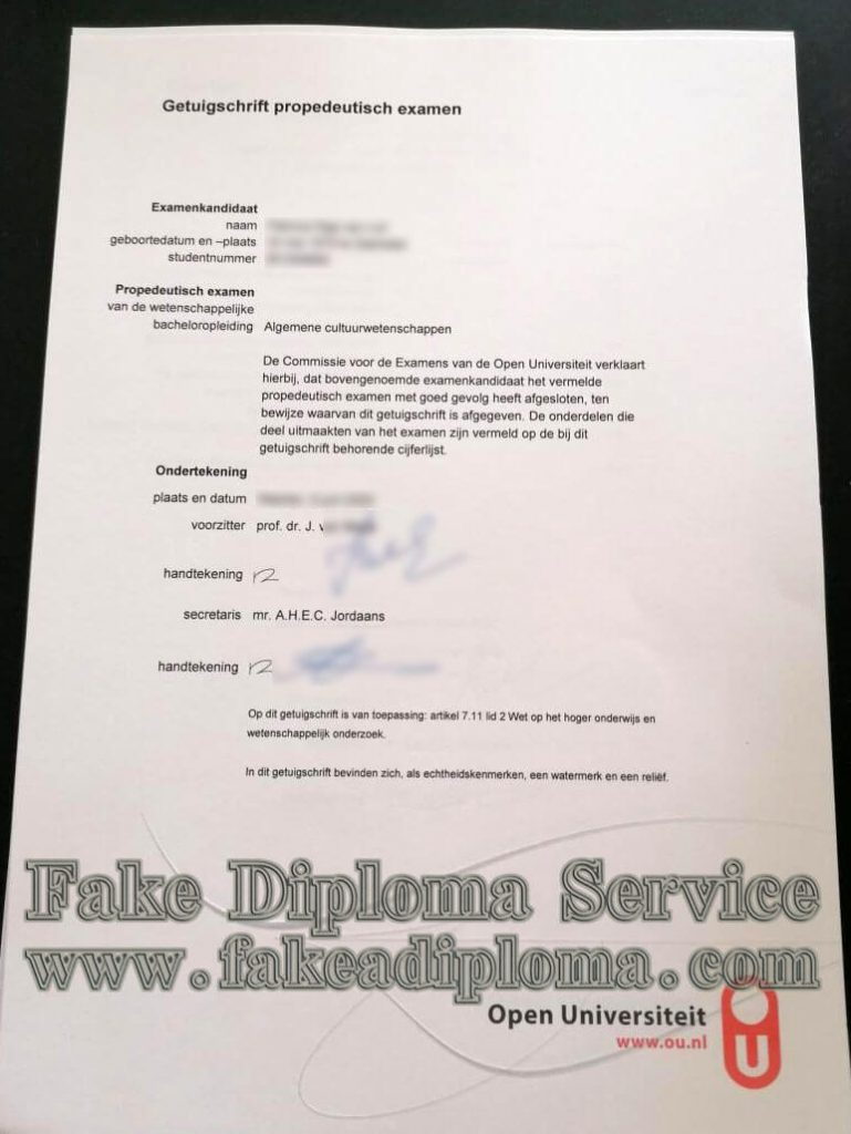 fake Open Universiteit Nederland diploma