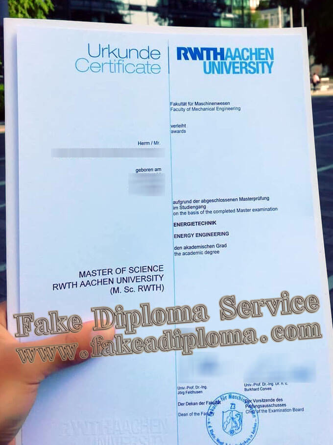 fake RWTH Aachen University diploma, Rheinisch-Westfälische Technische Hochschule Aachen diploma