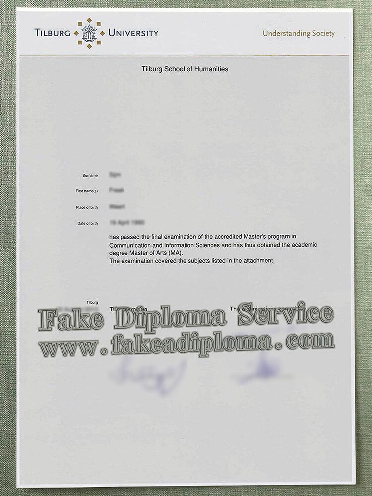 fake Tilburg University diploma, fake Tilburg University degree, fake Tilburg University transcript