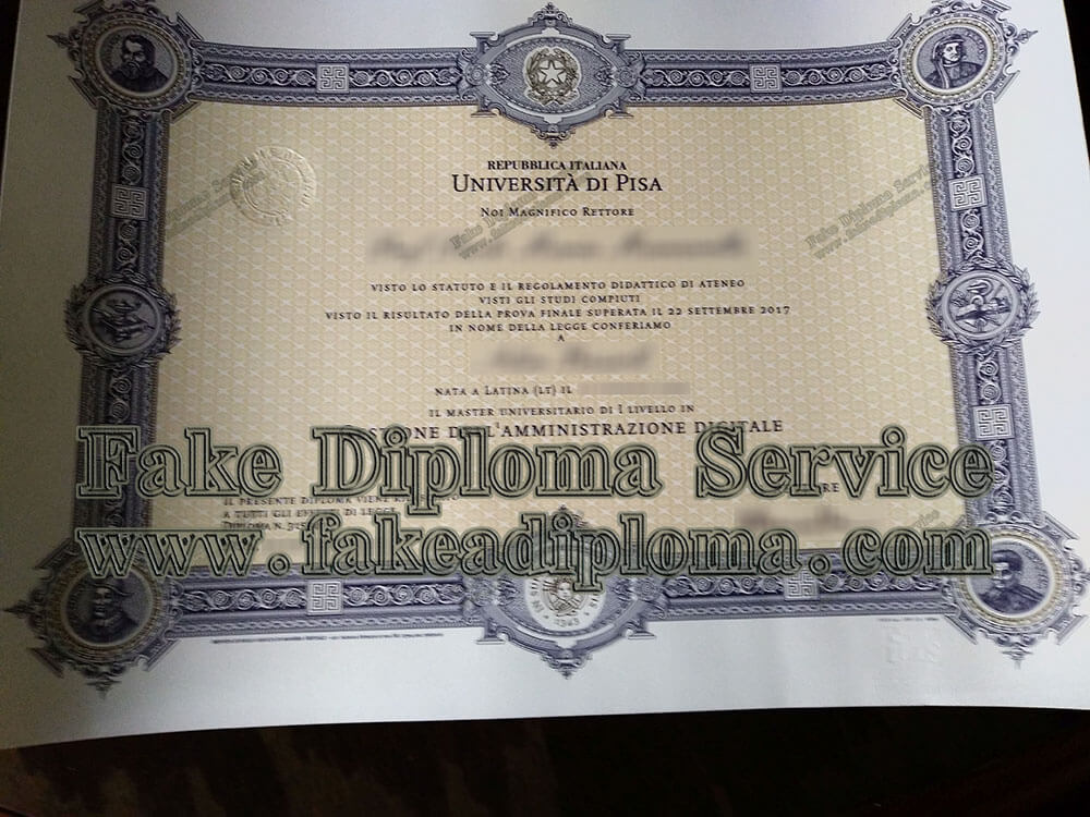 fake Università di Pisa diploma, fake University of Pisa diploma