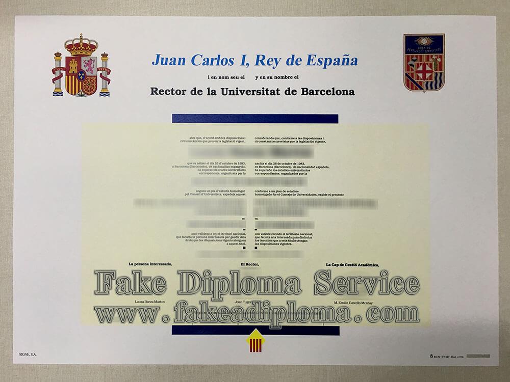 fake Universidad de Barcelona diploma, University of Barcelona diploma