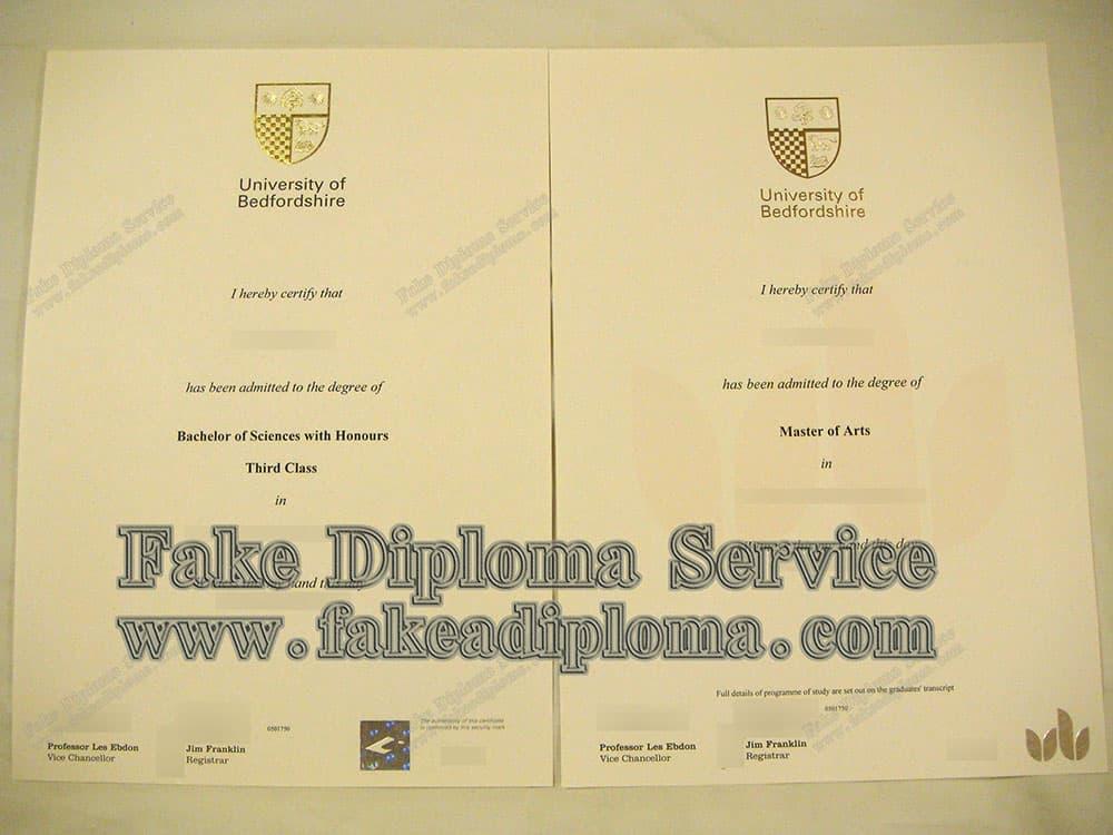 fake University of Bedfordshire degree