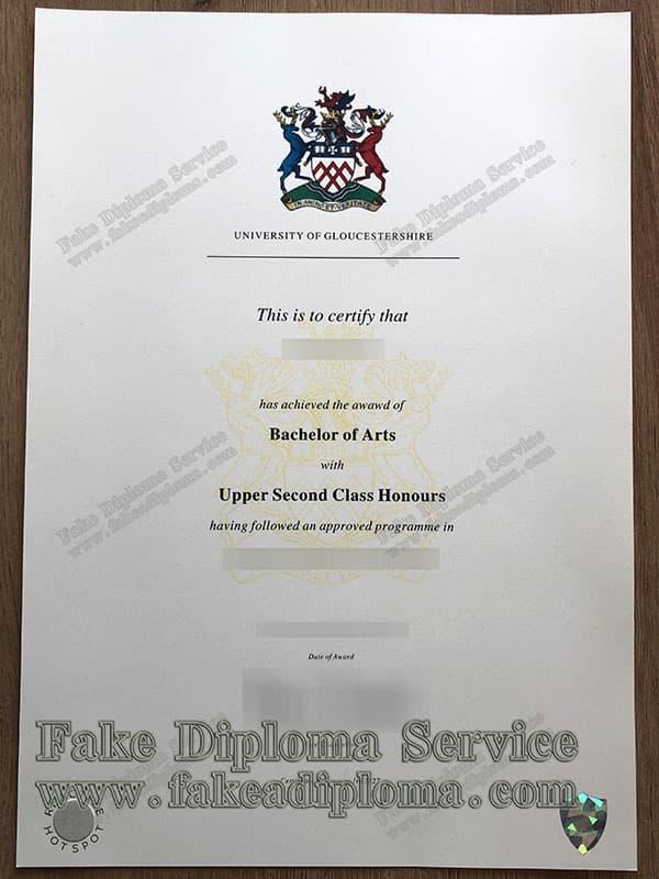 fake University of Gloucestershire diploma
