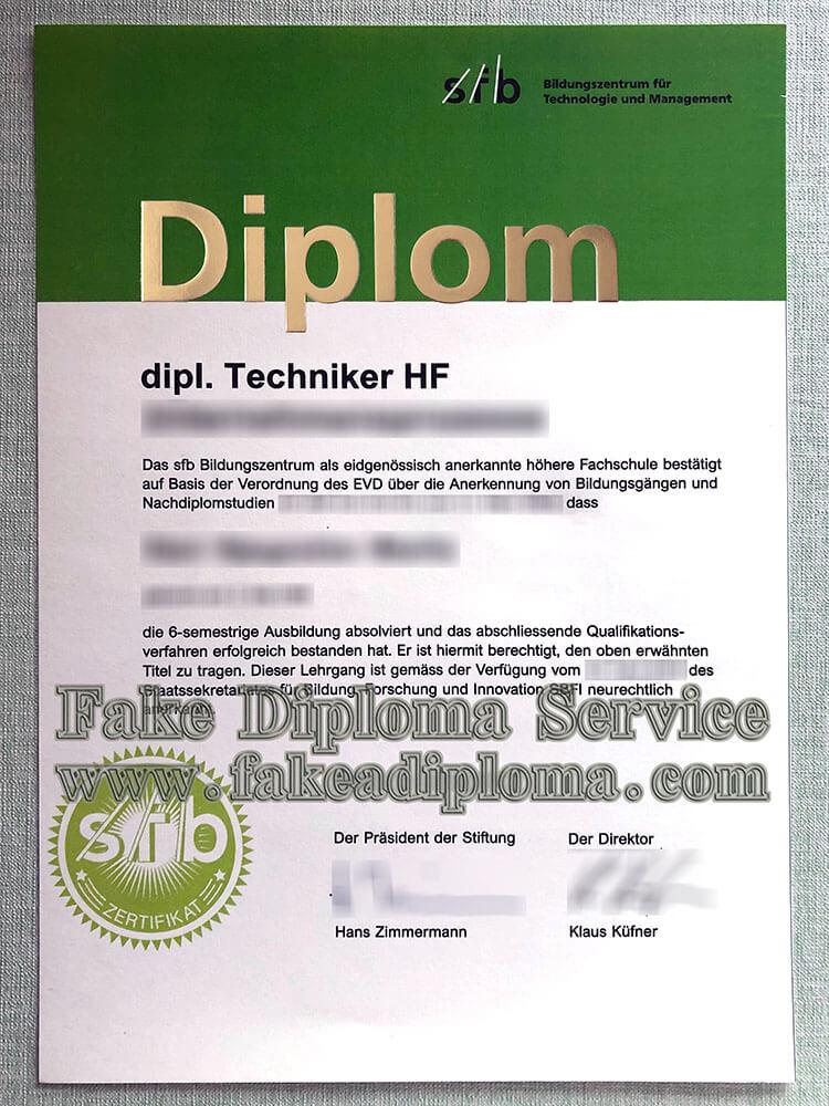 Fake SFB Diploma Certificate