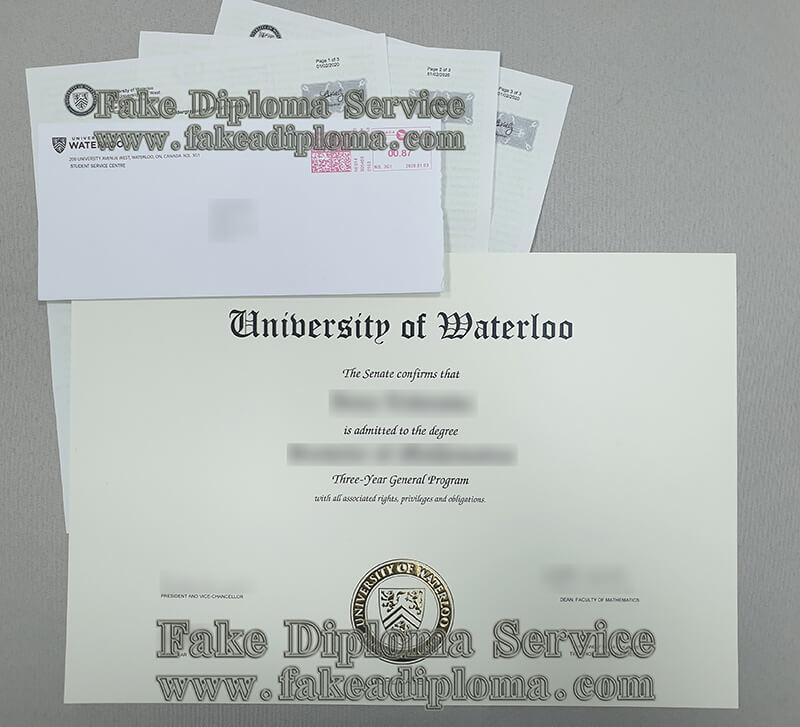 University of Waterloo diploma,University of Waterloo transcript,University of Waterloo envelope