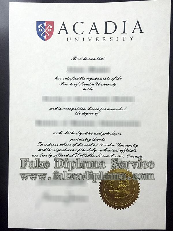 fake ACADIA University diploma