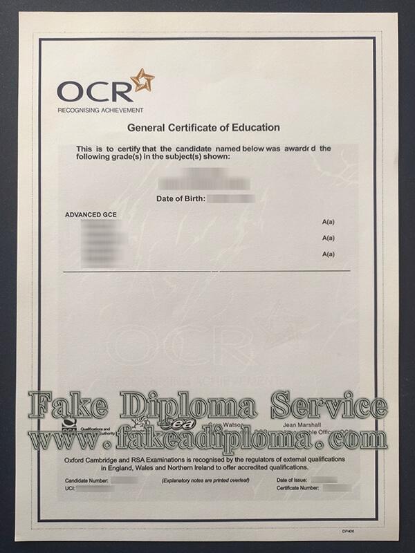 Oxford Cambridge and RSA certificate, OCR GCE certificate
