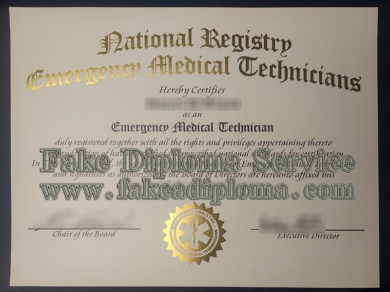 fake National Registry Emergency Medical Technicians certificate
