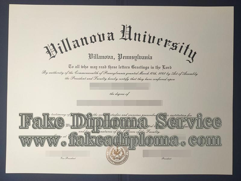 fake Villanova University diploma, Villanova University degree certificate