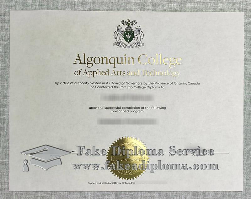 Algonquin College diploma, Algonquin College degree, Algonquin College certificate,