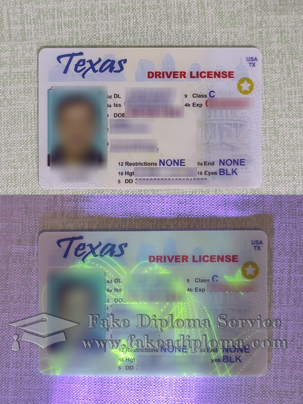 Texas driver license, Texas driver licence, fake Texas driving permit card, scanable fake driver license,