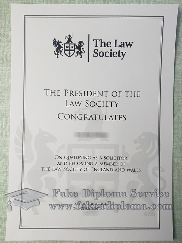 The Law Society of England and Wales certificate, The Law Society of England and Wales member certificate, The Law Society certificate,