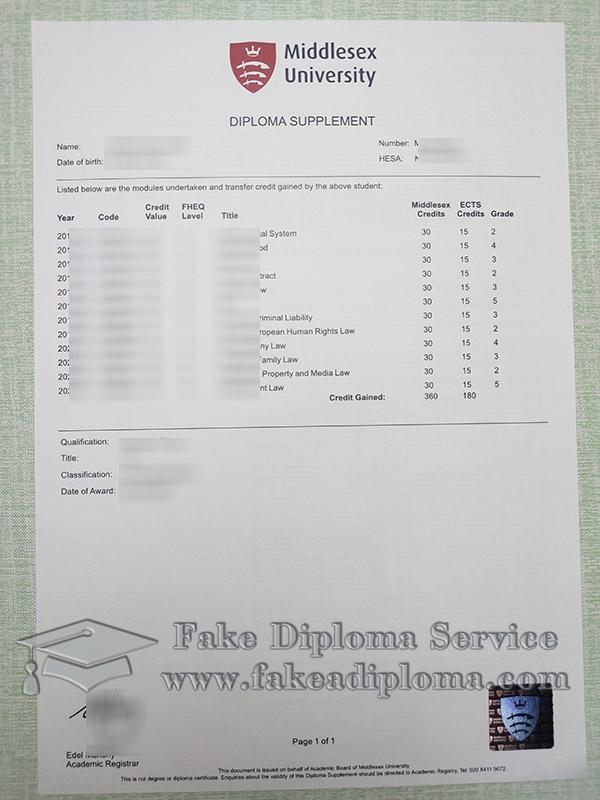 Middlesex University transcript, Middlesex University diploma supplement, fake Middlesex University certificate, 密德萨斯大学成绩单,