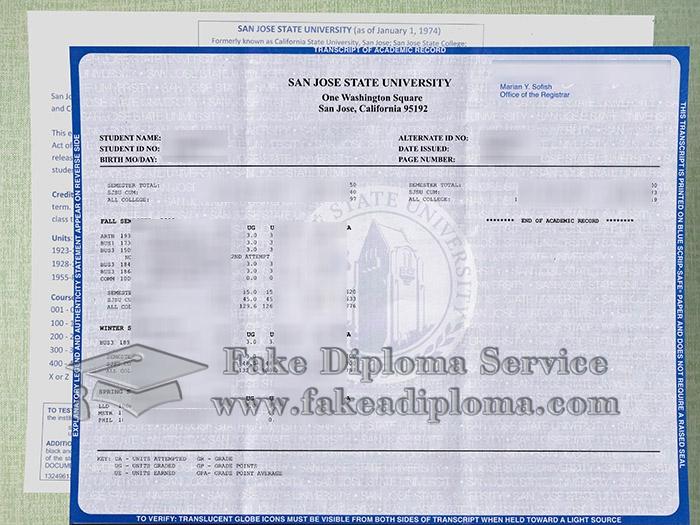 San Jose State University transcript, SJSU transcript, San Jose State University certificate, fake SJSU diploma,