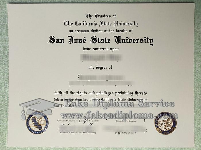 San Jose State University diploma, San Jose State University degree, back dated SJSU diploma, 圣何塞州立大学证书,